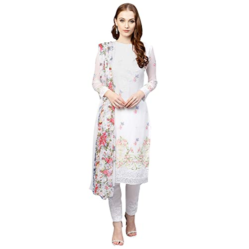 83be55c378 AKHILAM Women's Georgette Embroidered Unstitched Salwar Suits Salwar Suit  Material Set (White_Free Size)