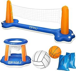 QPAU Juego de Flotador Inflable para Piscina, Juego de Voleibol Inflable con Red Ajustable, Aro Flotante de Baloncesto con...