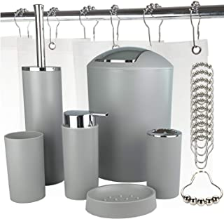 Bathroom Accessories Set, 6 Pieces Plastic Gift Set, Toothbrush Holder, Rinse Cup, Soap Dispenser, Soap Dish, Toilet Brush Holder, Trash Can, Frosted Shower Curtain Liner, Chrome Shower Curtain Rings