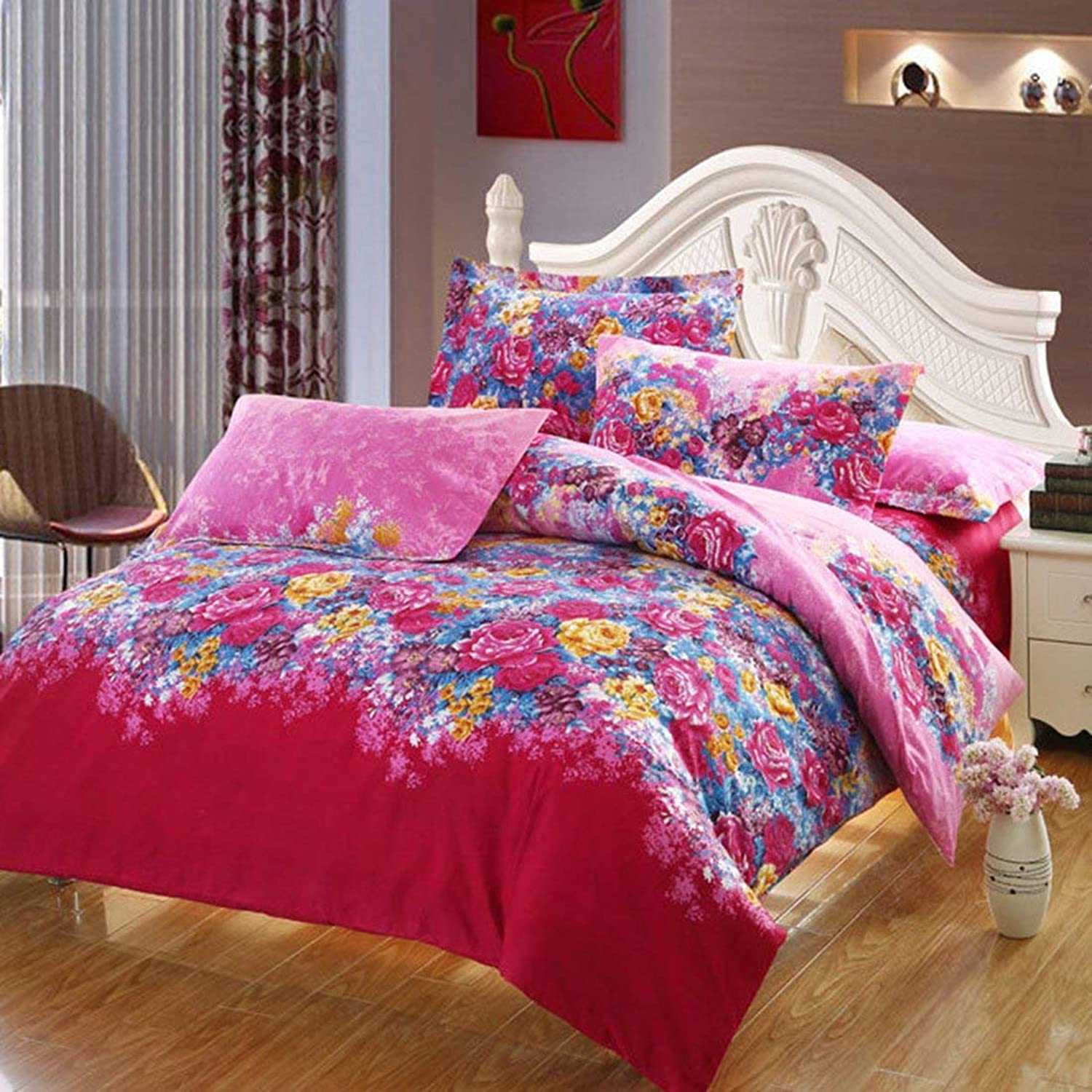 Double, Florals   Bed Sets,Florals Pattern Duvet Quilt Cover Pillowcase Bedding Set Double Size