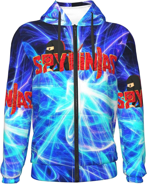 Red C-W-C Spy Ninjas Teenage Boys/Girls Thin Zip Hoodie Fashion Sweatshirts Sports Jackets Pullover Hoodies
