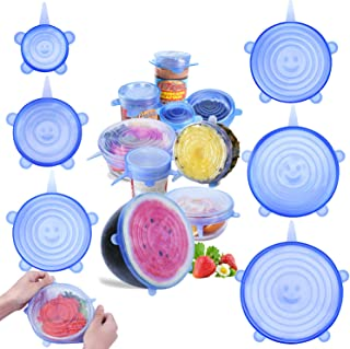 jooe Silicone stretch lids for food seal and bowl covers, 7 pack various size, round, blue