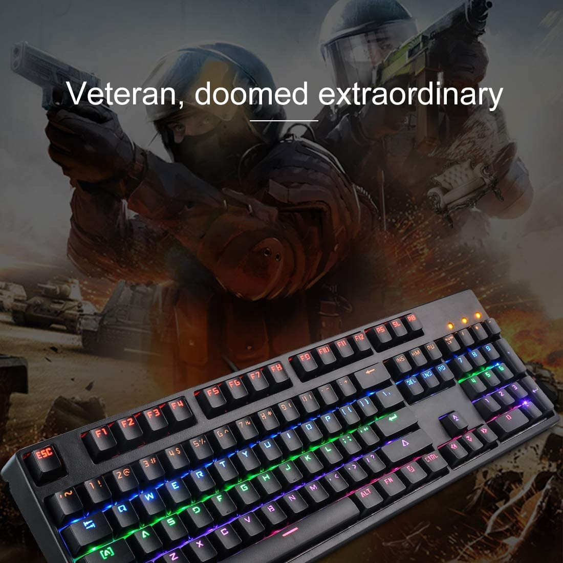 Cable Length: 1.47m Black CHENNAN Gaming M-8 USB Wired Colorful Backlit Gaming Mechanical Keyboard Color : Black Office
