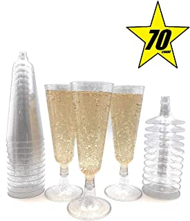 70pc Glitter Plastic Classicware Glass Like Champagne Wedding Parties Toasting Flutes Party Cocktail Cups (Silver)