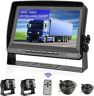 "$135 » 2021 New AHD 1080p Backup Camera with Monitor Kit 8"" LCD Display Waterproof Night Vision Rear View Camera + Front View Cam..."