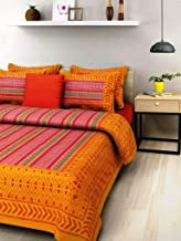 BedZone 100% Cotton Rajasthani Tradition King Size Double Bedsheet with 2 Pillow Cover -Yellow