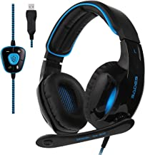 Gaming Headset Sades R7 Virtual 7.1 Channel Surround USB Wired Over Ear Computer Headset Headphones with Mic Noise Cancelling Volume Control LED Retractable Microphone for PC Mac Computer