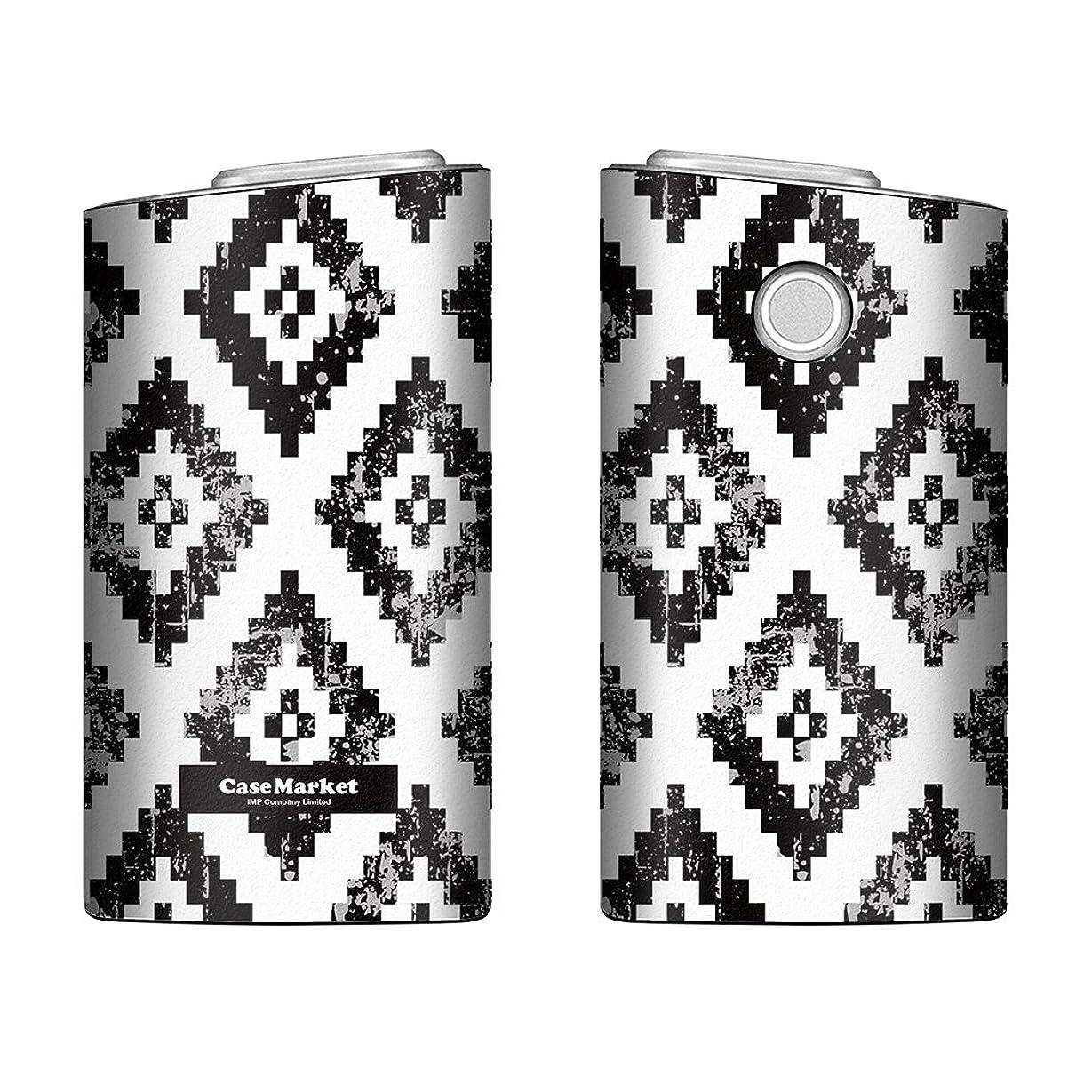 注ぎます囚人神経障害CaseMarket glo グロー ケース 専用 PUレザー プリント ハードケース アラスカ モダン モノトーン インディアン Black & White 4308 電子タバコ 保護 カバー