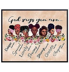Black Wall Art - Inspirational Bible Verse Religious Wall Decor - African American Women, Black Woman, Girls, Teens - Christian Scripture Poster - Motivational Encouragement Gifts - God Wall Decor