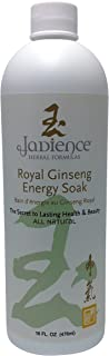 JADIENCE Royal Ginseng Energy Bath Soak : All Natural Herbal Liquid Formula For Full Body Or Foot Soaking & Stamina Relieve Stress, Fatigue And Muscle & Joint Pain - 16Oz