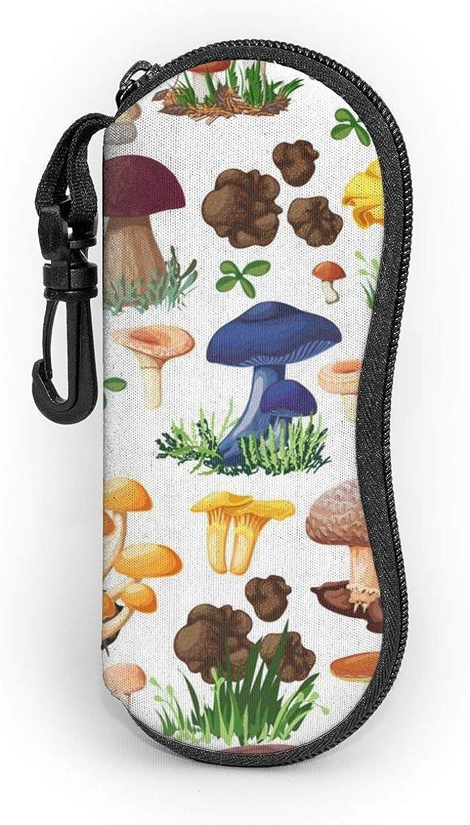 CHILL·TEK Wild Mushroom Eyeglasses Case With Carabiner - Lightweight | Portable | Soft | Neoprene Zipper Sunglasses Case