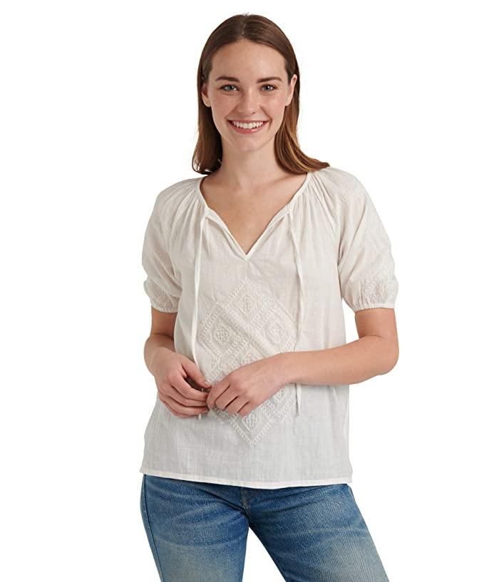 Lucky Brand  Short Sleeve V-Neck Embroidered Peasant Top (Bright White) Womens Clothing
