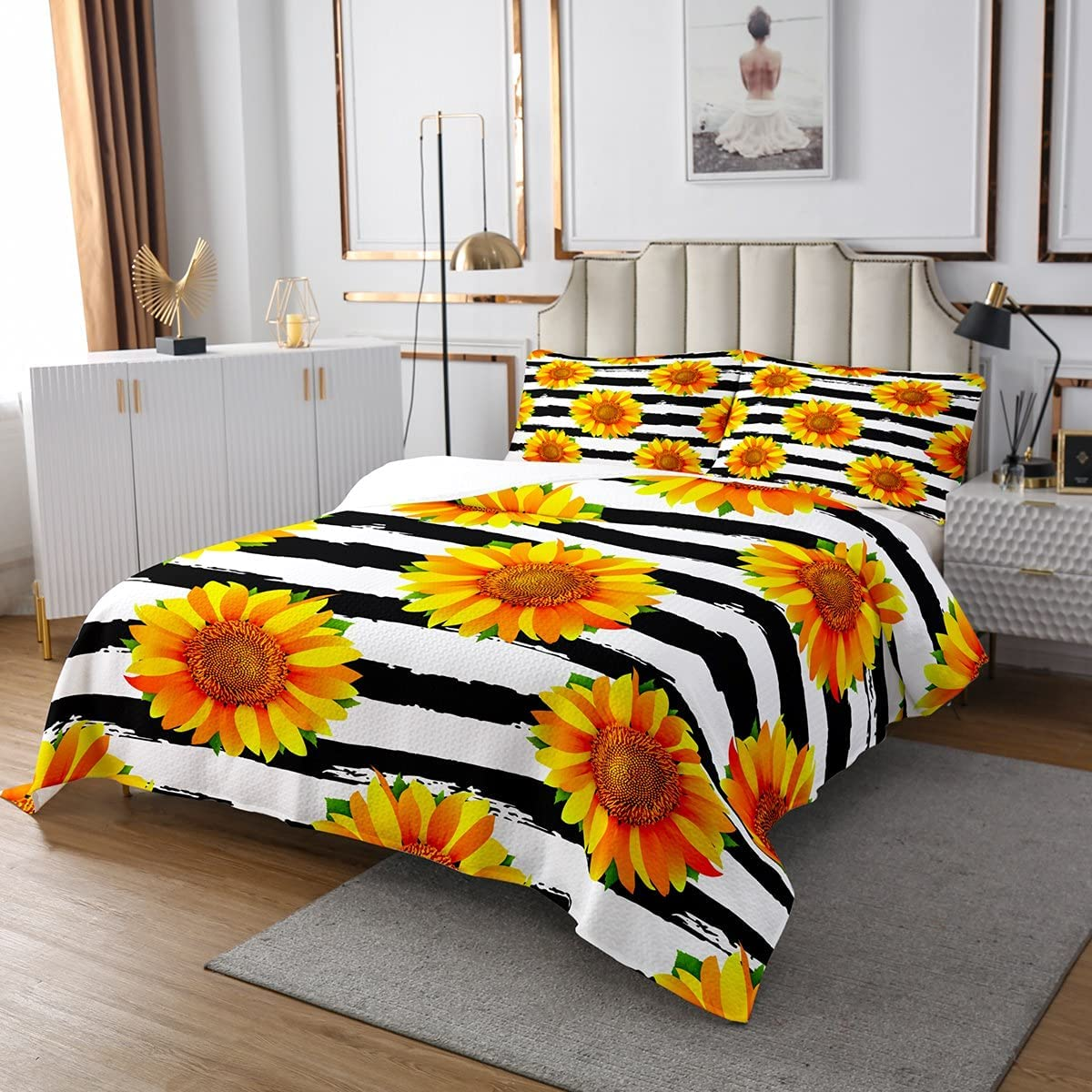 Max 67% OFF Sunflowers Bedspread Floral Quilted Coverlet Boys for security Girls Kids