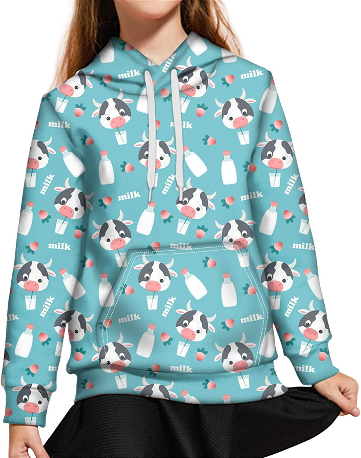 Upetstory Youth Hoodies for Girls Boys Kids Size S-XL Long Sleeve Hooded Sweatshirt with Pockets