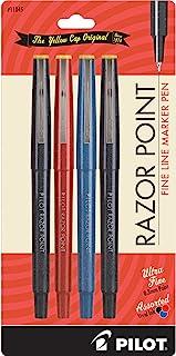 PILOT Razor Point Fine Line Marker Stick Pens, Ultra-Fine Point (0.3mm) Black/Blue/Red Inks, 4-Pack (11045)