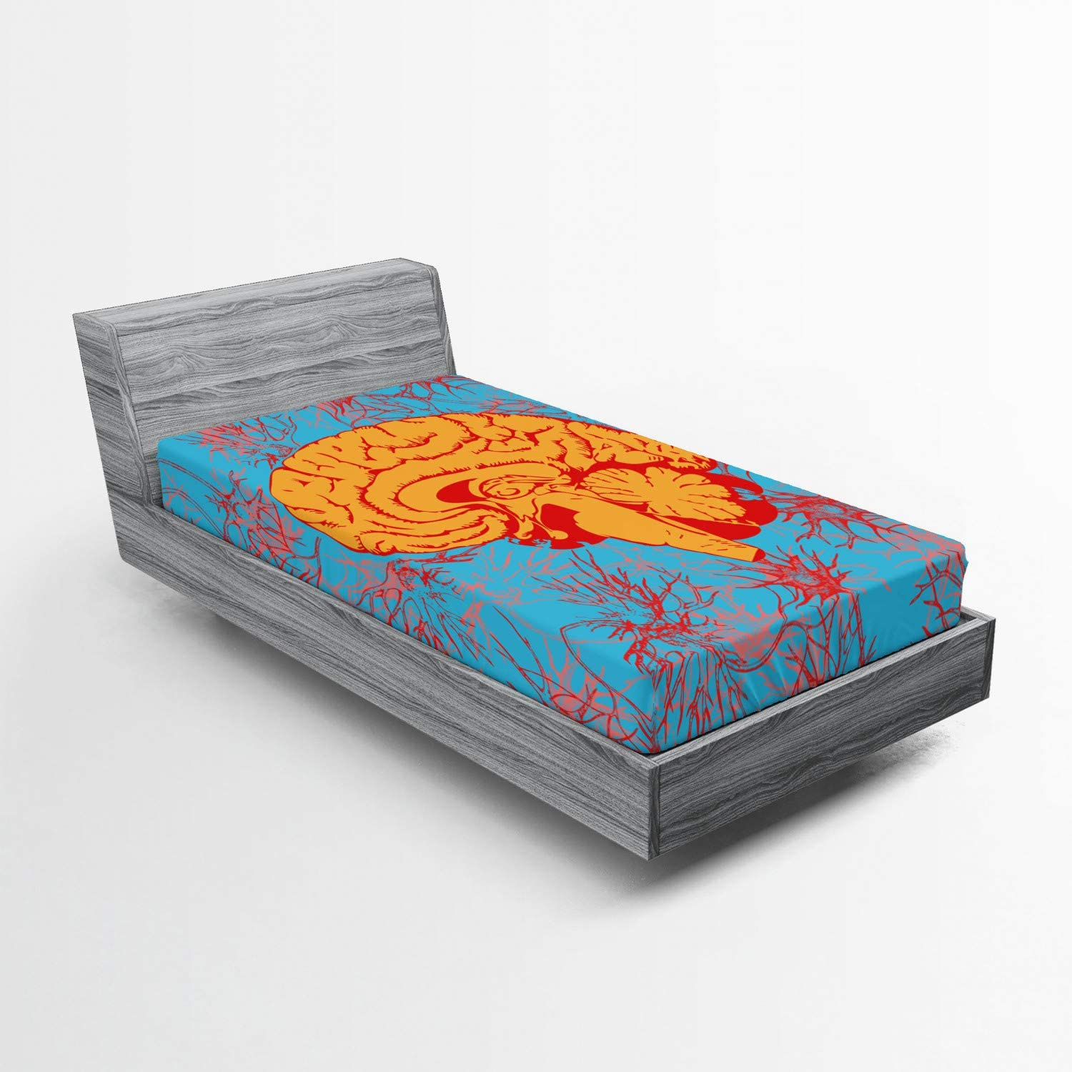 Lunarable Surrealistic Fitted Sheet Human 4 years warranty N Penetrated Brain by Sales results No. 1