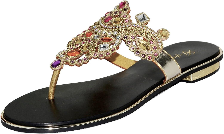 Unicrystal Women's Sexy Crystal Rhinestone Slip on Peep Toe Flip Flops Flat Slipper Sandals