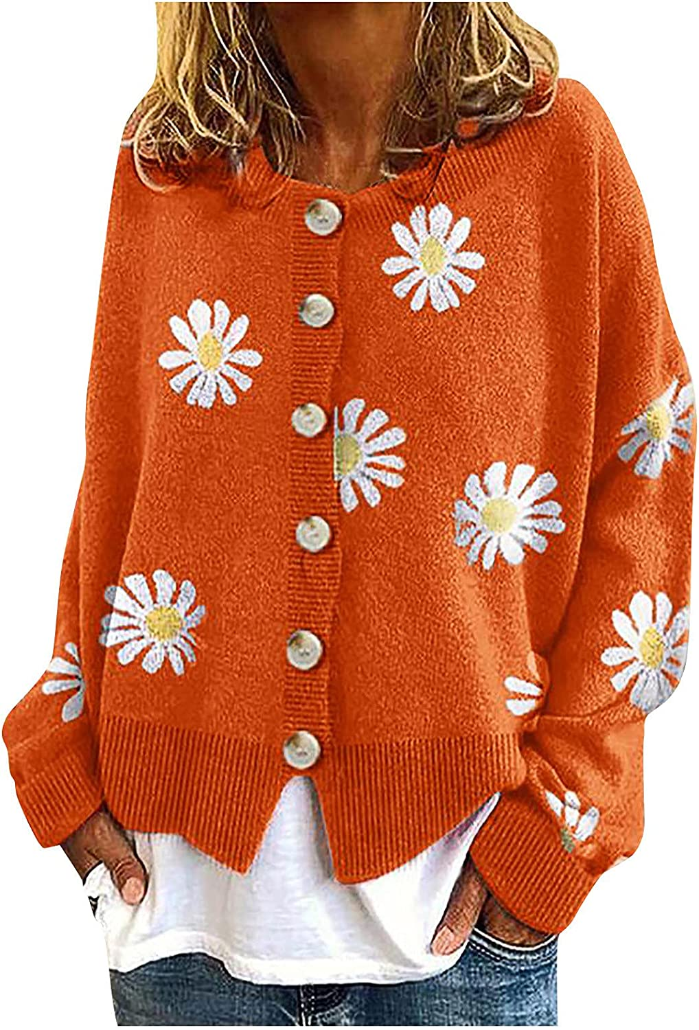 Women Coat Cardigans Daisy Printing Long Sleeve O-Neck Cropped Short Sweater Top Casual Loose Button y2k Knit Sweaters