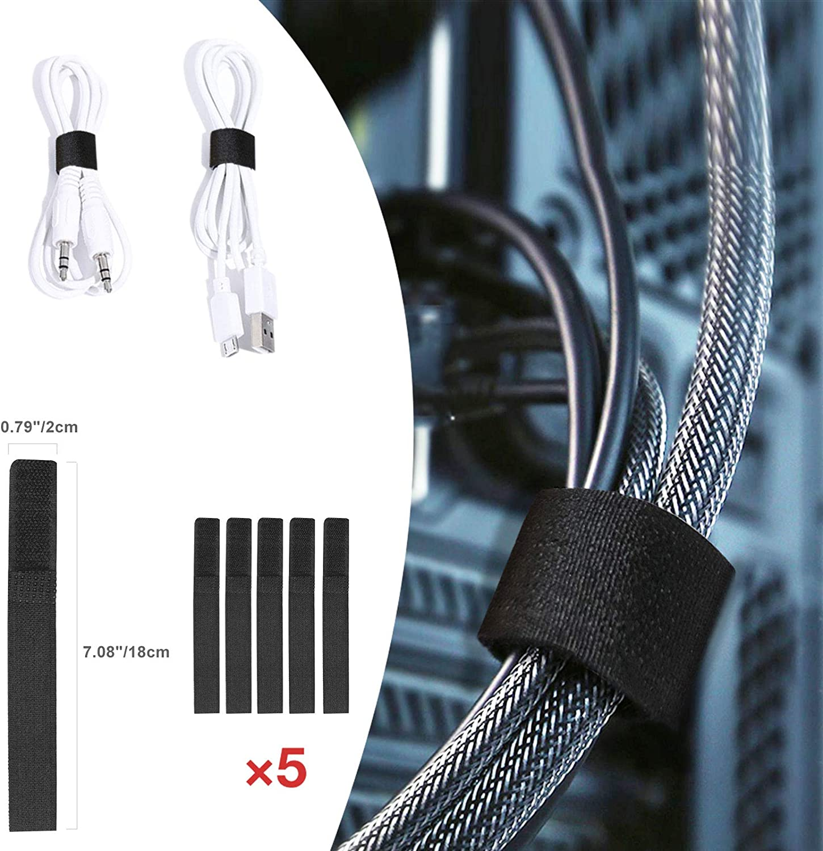 2 x 40cm 2 Paquetes de Canaletas para Cables Cubre Cables Ocultar Cables de Alimentaci/ón Canaleta Cables Negro para el Hogar y la Oficina