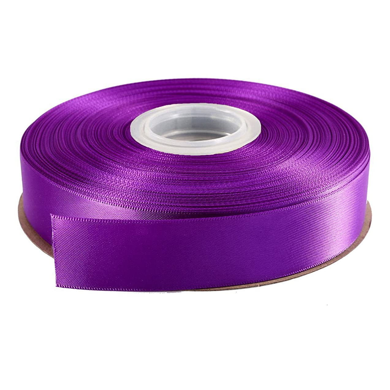 DUOQU 7/8 inch Wide Double Face Satin Ribbon 50 Yards Roll Multiple Colors Purple