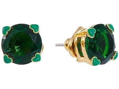 Kate Spade New York Heart Stud Earrings (Emerald) Earring