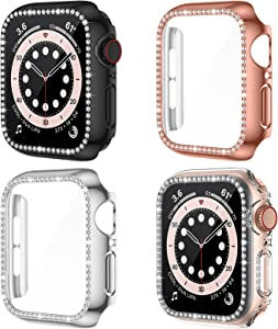 LORDSON 4-Pack Case Compatible with Apple Watch SE/Series 6/5/4 40mm, PC Bling Bumper Cover with Tempered Glass Screen Protector for Watch Series SE/6/5/4