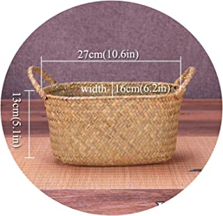 Wicker Weaving Storage Basket Fruit Dish Rattan Storage Box for Cosmetics Tea Picnic Basket Food Bread Organizer Handiwork,Brown 28x17x10