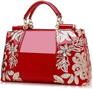 Women Embroidery Handbag Leather Vintage Flowers Ladies Shoulder Bag Tote Messenger Bag