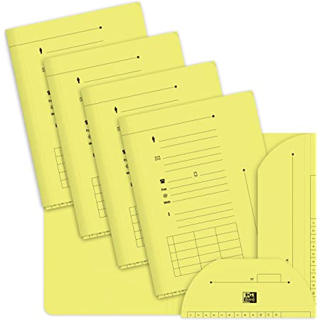 OXFORD Lot de 25 Sous-Dossiers A4 Capacité 200 Feuilles Carte Kraft Epaisseur 240g Jaune Pastel