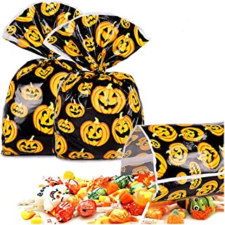 Halloween Treat Bag 100 Pcs Halloween Candy Bags For Trick or Treat Pumkin Bags for Party Favors, Snacks, Decoration, Chil...