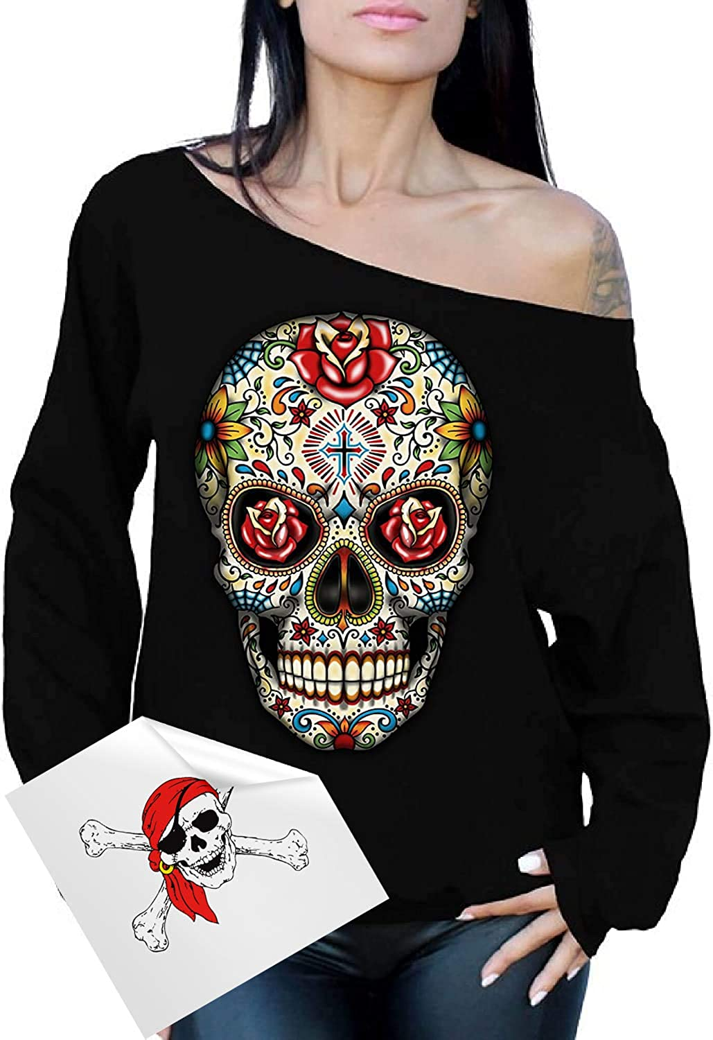 Awkward Styles Skull Sweatshirts for Women - Day of The Dead Halloween Off The Shoulder Top + Sticker Gift