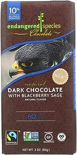 Endangered Species Chocolate Bar Dark with Blackberry Sage, 3 oz