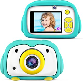 BlueFire Kids Camera 12MP HD Digital Camera for Kids Mini 2 Inch LCD Screen Child Camcorder with Cartoon Penguin Silicone ...