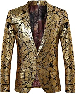 d3fbbc2db9e Men s Sport Coat Two Buttons Slim Fit Party Blazer Golden Dinner Suit Jacket