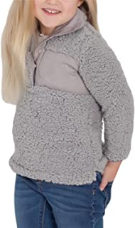 Girl's Long Sleeve Stand Buttons Collar Pebble Pile Fleece Sherpa Sweatshirts Pullover