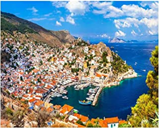 Paint By Numbers scenery of islandgreece picturesque village stock pictures royalty Digital Coloring Oil Painting Canvas W...
