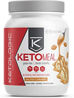 KetoLogic Keto Meal Replacement with MCT, Salted Caramel | Low Carb, High Fat Keto Powder | Promotes Weight Loss & Suppresses Appetite | 20 Servings
