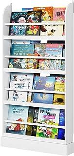 Homfa Bibliothèque Murale Etagère à Journaux Vertical Porte-Revues en Bois 60×12×108.5cm Blanc