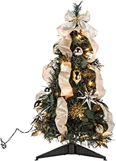 HOLIDAY PEAK 2' Silver & Gold Pull-Up Christmas Tree, Pre-Lit and Fully Decorated, Collapses for Easy Storage