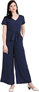 Serein Women's Crepe Polka Printed Basic Jumpsuit with Half Sleeve and Waist Tie-up Belt (Navy Blue; XS)