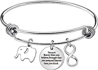 Inspirational Bracelets Bangles for Women Men You Are Braver Than You Believe Christmas Thanksgiving Birthday Graduation G...