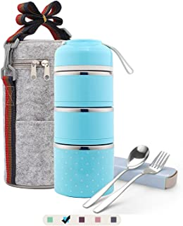 Bento Lunch Box, ArderLive Stainless Steel Insulated Lunch Box with Portable Lunch Bag&Portable utensil, Leakproof Food Storage Container.(3Layer, Blue)