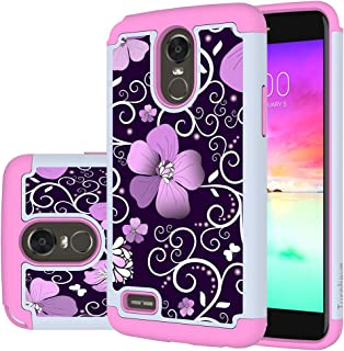 LG Stylo 3 Case,LG Stylo 3 Plus Case,Turphevm [Shock Absorption] Dual Layer Heavy Duty Protective Silicone Plastic Cover Case for LG Stylus 3(Pink Violet)