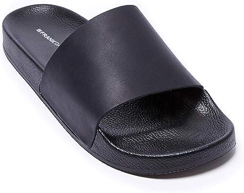 Sandales avec décoration décoration Plain de Couleur Noire. Plain Sandal noir. Homme  autorisation officielle