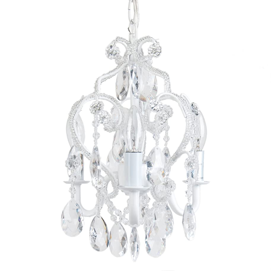 Tadpoles 3-Bulb Vintage Plug-In or Hardwired Mini-Chandelier, White Diamond