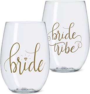 11 Piece Set of Bride Tribe and Bride Durable Plastic Stemless Wine Glasses for Bachelorette Parties, Weddings and Bridal Showers