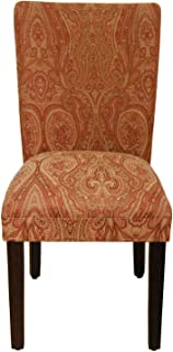 HomePop Parsons Classic Upholstered Accent Dining Chair,  Single Pack, Red Damask