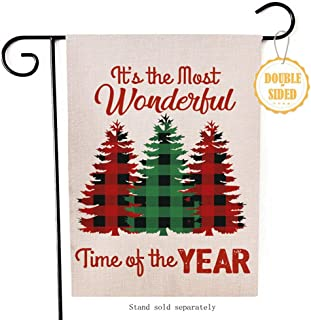Hzppyz It's The Most Wonderful Time of The Year Christmas Tree Garden Flag, Decorative Merry Xmas Outdoor Flag Sign, Rustic Burlap House Yard Flag Winter Outside Decoration Home Decor Flag 12.5 x 18