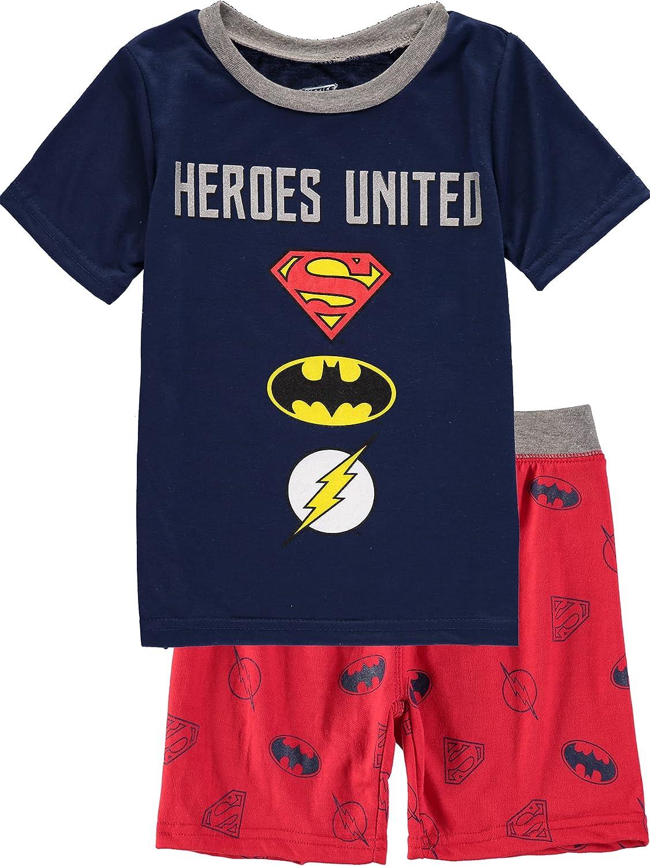 DC Comics Graphic Short Sleeve T-Shirt and Shorts Lounge Set Superman Batman The Flash