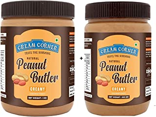CREAM CORNER Peanut Butter Combo Creamy + Creamy Spread All Natural High Protein Nut Butter Healthy Snack (1Kg+500g)